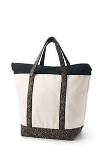 Large Natural With Printed Handle Zip Top Canvas Tote Bag, Back