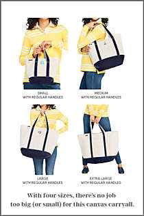 Medium Natural With Printed Handle Zip Top Canvas Tote Bag, alternative image