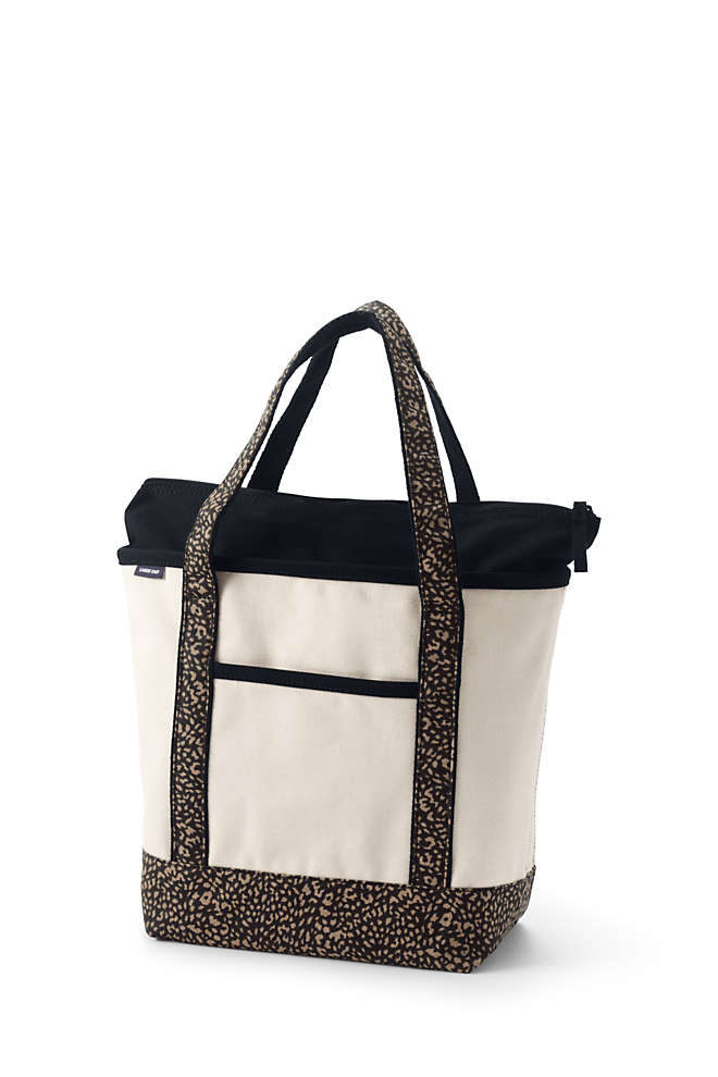 Medium Natural With Printed Handle Zip Top Canvas Tote Bag, Front