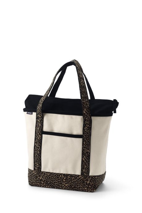 Medium Natural With Printed Handle Zip Top Canvas Tote Bag