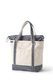 Medium Natural With Printed Handle Zip Top Canvas Tote Bag