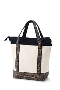 Medium Natural With Printed Handle Zip Top Canvas Tote Bag, Back
