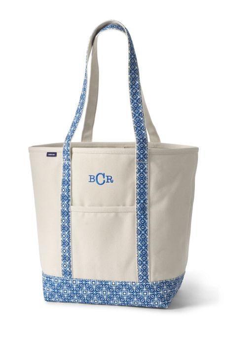 Large Natural With Printed Long Handle Open Top Canvas Tote Bag