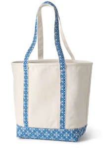 Large Natural With Printed Long Handle Open Top Canvas Tote Bag, Back