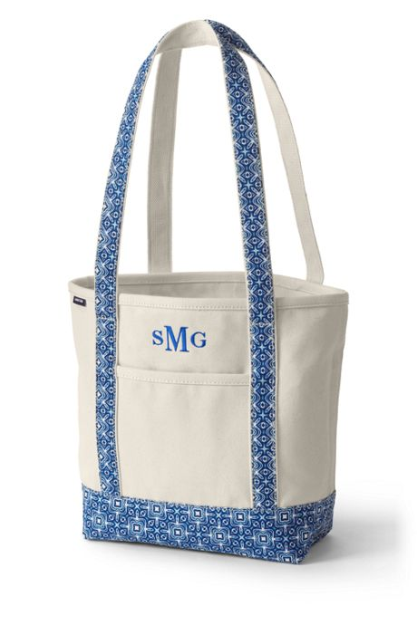 Medium Natural With Printed Long Handle Open Top Canvas Tote Bag