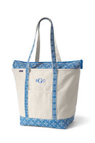 Large Natural With Printed Long Handle Zip Top Canvas Tote Bag