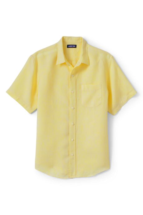 Men's Traditional Fit Short Sleeve Linen Shirt
