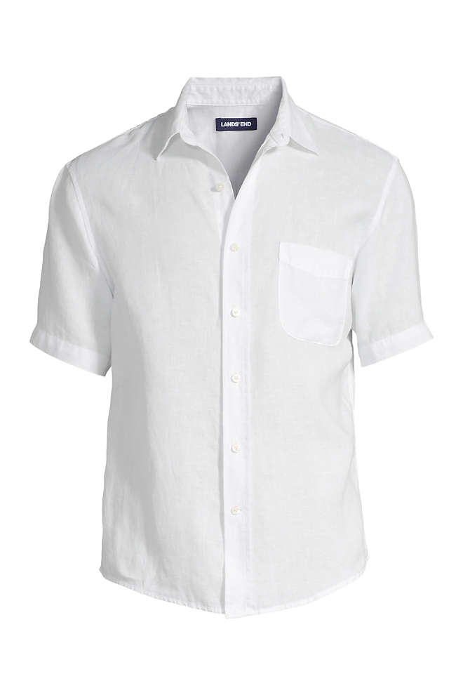 Men's Traditional Fit Short Sleeve Linen Shirt, Front