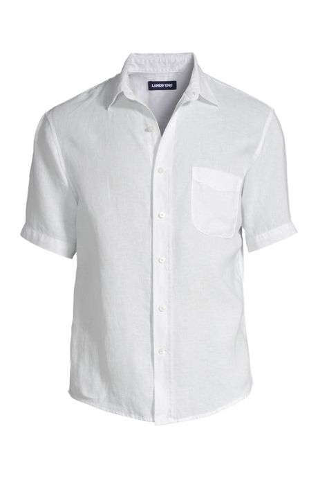 Men's Big and Tall Traditional Fit Short Sleeve Linen Shirt