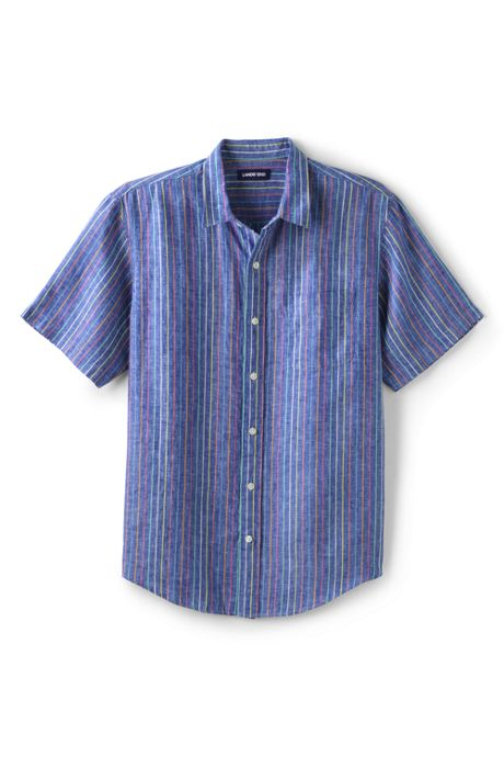 Men's Tall Traditional Fit Short Sleeve Linen Shirt