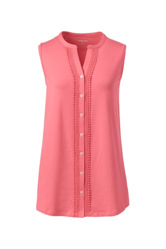 Women's Cotton-modal Lace Trim Sleeveless Top