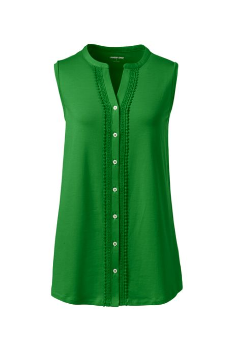 Women's Embroidered Button Front Tunic Tank Top