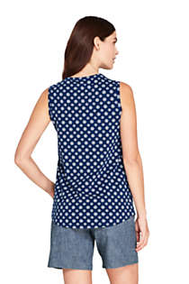 Women's Embroidered Button Front Tunic Tank Top, Back