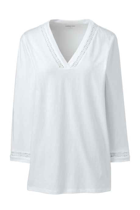 Women's Petite 3/4 Sleeve V-neck Tunic