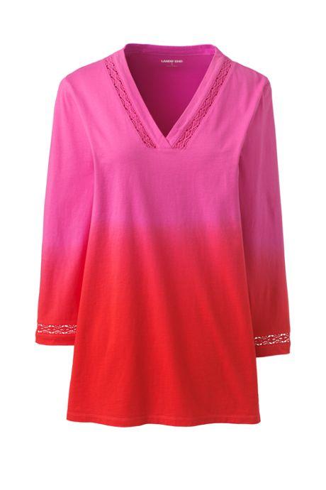 Women's Plus Size 3/4 Sleeve V-Neck Tunic