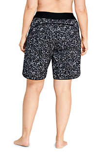 "Women's Plus Size 11"" Quick Dry Elastic Waist Modest Board Swim Cover-up Shorts with Panty Print, Back"