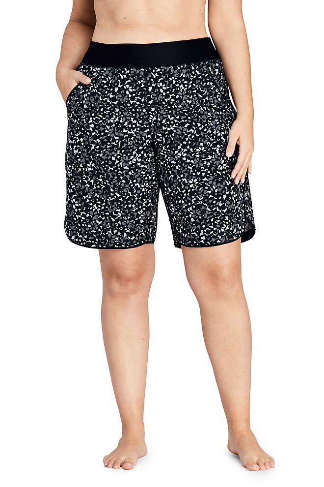 "Women's Plus Size 11"" Quick Dry Elastic Waist Modest Board Swim Cover-up Shorts with Panty Print, Front"