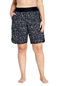 "Women's Plus Size 11"" Quick Dry Elastic Waist Modest Board Swim Cover-up Shorts with Panty Print"