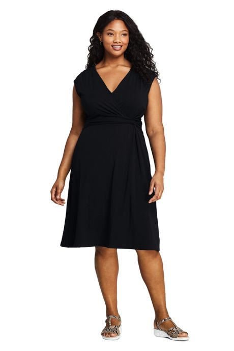 Women's Plus Size Cap Sleeve Surplice Wrap Knee Length Fit and Flare Dress