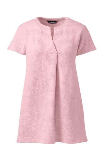 Women's Plus Seersucker Notch Neck Tunic
