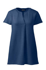 Women's Seersucker Short Sleeve Notch Neck Tunic Top