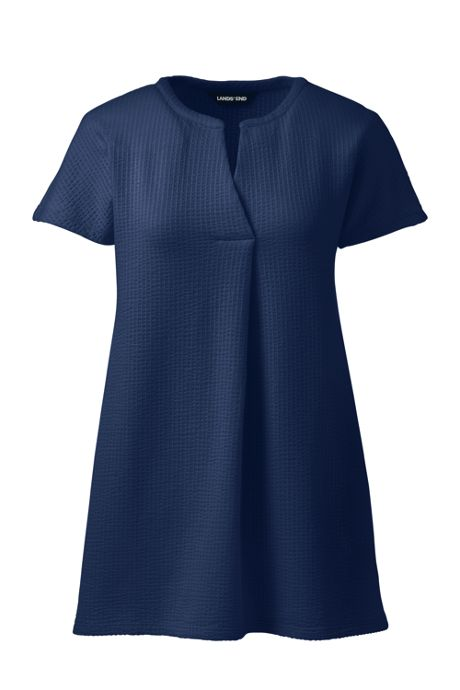 Women's Plus Size Seersucker Short Sleeve Notch Neck Tunic Top