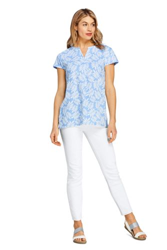 Women's Tall Seersucker Short Sleeve Notch Neck Tunic Top