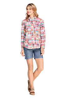 Women's Petite Boyfriend Fit Cotton Patchwork Tunic Top, alternative image