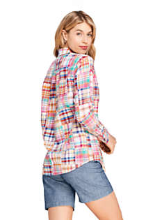 Women's Petite Boyfriend Fit Cotton Patchwork Tunic Top, Back