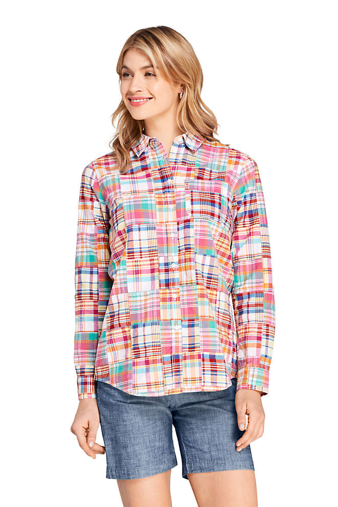 Women's Petite Boyfriend Fit Cotton Patchwork Tunic Top, Front