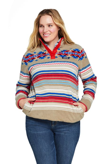 Women's Plus Size Classic Fleece Snap Neck Pullover