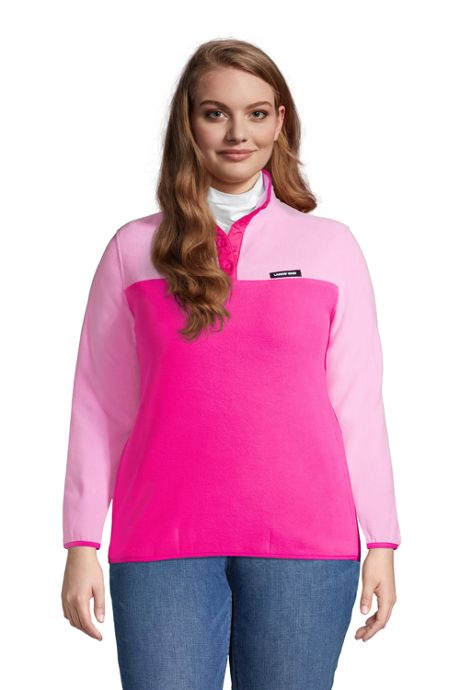 Women's Plus Size Classic Fleece Snap Neck Pullover