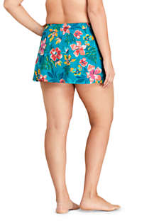 Women's Plus Size Tummy Control Wrap Mini Swim Skirt Swim Bottoms Print, Back
