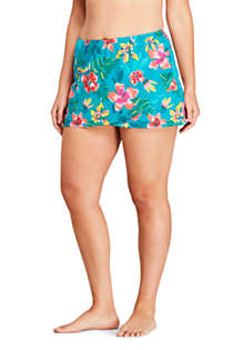Women's Plus Size Tummy Control Wrap Mini Swim Skirt Swim Bottoms Print, Front