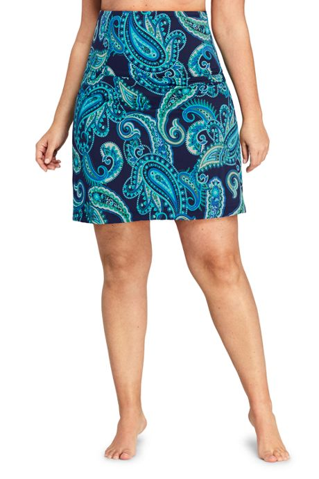 Women's Plus Size Tummy Control Ultra High Waisted Modest Swim Skirt Swim Bottoms Print
