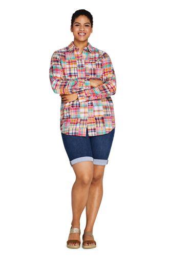 Women's Plus Size Boyfriend Fit Cotton Patchwork Tunic Top