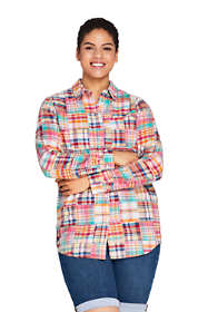 Women's Plus Size Boyfriend Fit Cotton Patchwork Tunic Top