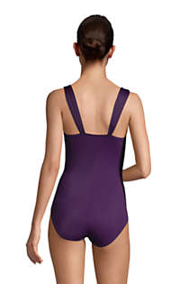 Women's Mastectomy Slender Grecian Tummy Control Chlorine Resistant One Piece Swimsuit, Back