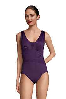 Women's Mastectomy Slender Grecian Tummy Control Chlorine Resistant One Piece Swimsuit, Front