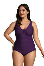 Women's Plus Size Slender Grecian Tummy Control Chlorine Resistant One Piece Swimsuit