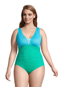 Women's Plus Size Slender Grecian Tummy Control Chlorine Resistant One Piece Swimsuit