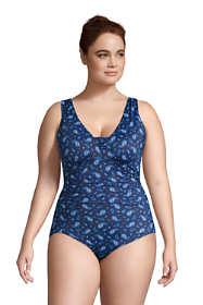 Women's Plus Size Slender Grecian Tummy Control Chlorine Resistant One Piece Swimsuit Print
