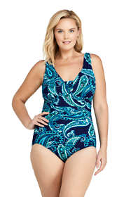 Women's Plus Size Slender Grecian Tummy Control Chlorine Resistant One Piece Swimsuit Print