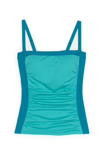 Women's Strapless Bandeau Tankini Top Swimsuit with Removable and Adjustable Straps