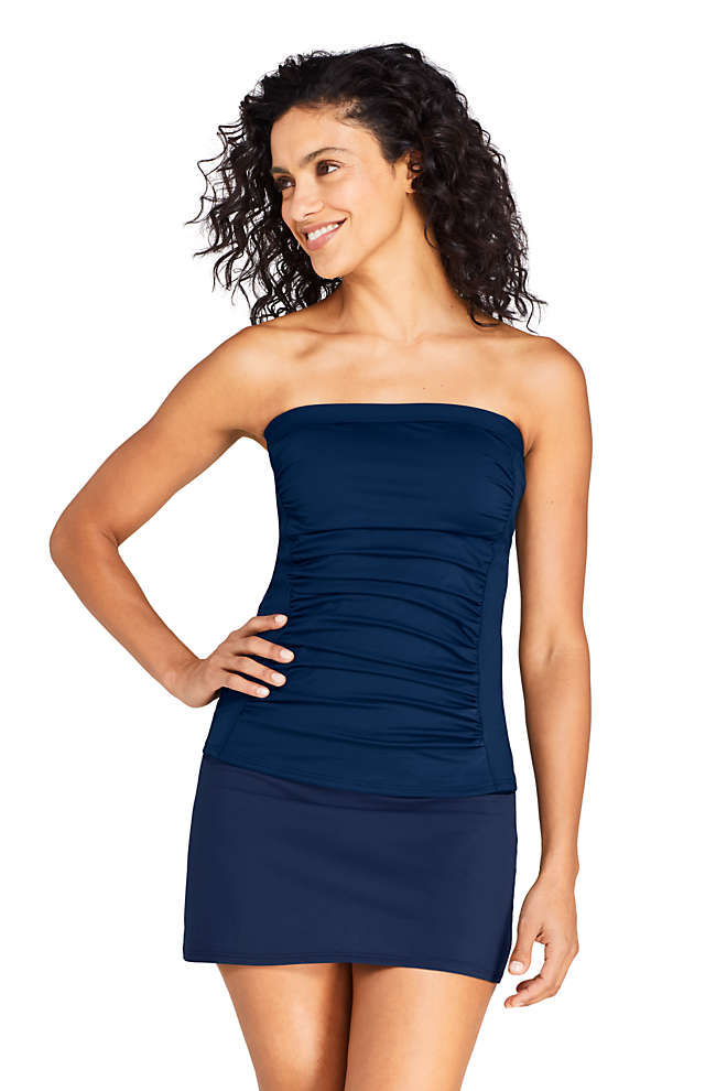 Women's Strapless Bandeau Tankini Top Swimsuit with Removable and Adjustable Straps, alternative image