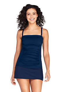 Women's Strapless Bandeau Tankini Top Swimsuit with Removable and Adjustable Straps, Front
