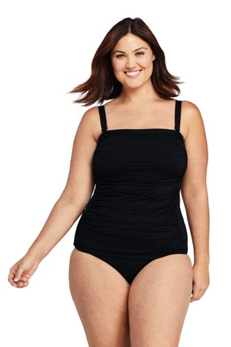 Women's Plus Size Strapless Bandeau Tankini Top Swimsuit with Removable and Adjustable Straps