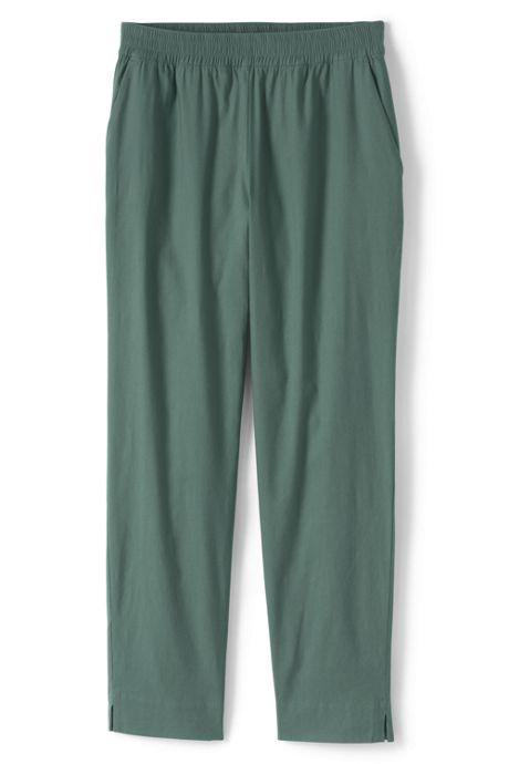 Women's Plus Size Mid Rise Elastic Waist Linen Ankle Pants