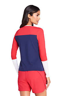 Women's Crew Neck Long Sleeve Rash Guard UPF 50 Sun Protection Modest Swim Tee, Back