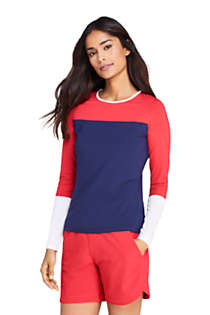 Women's Crew Neck Long Sleeve Rash Guard UPF 50 Sun Protection Modest Swim Tee, Front